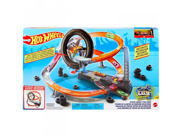 Трек Mattel Hot Wheels Hyper-Boost Tire Shop GJL16