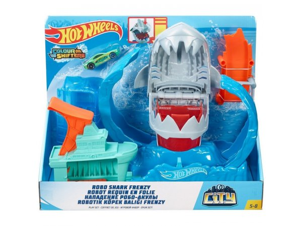 Трек Mattel Hot Wheels City Robo Shark Frenzy GJL12